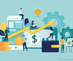 Vektorgrafik von Virtual Business Assistant. flaches Icon auf Smartphone ist zusammengeführt alle Konten, Geld, Karten Investment Management. Grafikdesign Business-Konzept Mobile Assistant, Mobile Banking.