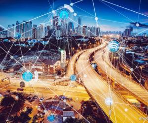 Intelligentes Stadt- und drahtloses Kommunikationsnetz, abstraktes Bildvisuelles, Internet der Dinge