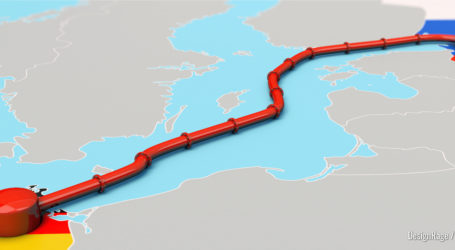 3D-Illustration, Nord Stream 2 Projekt zwischen Russland und Deutschland