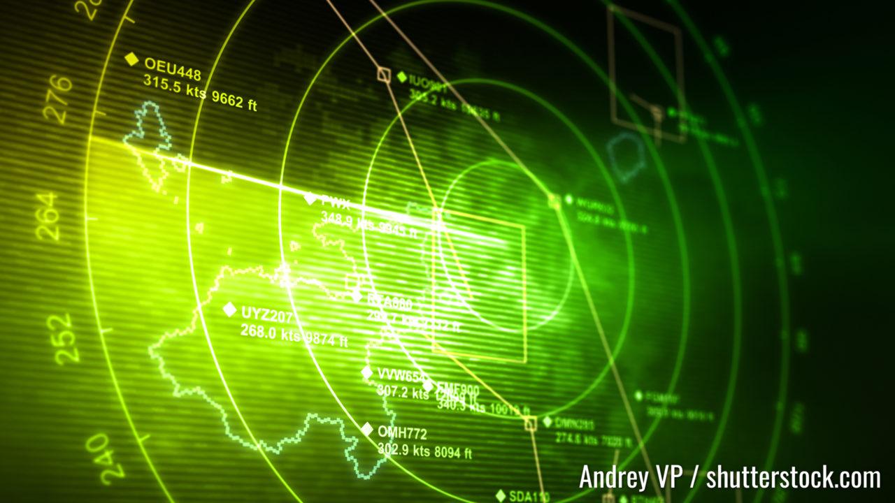 Abstraktes Radar mit Zielen in Aktion